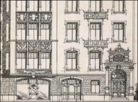 original architect's drawing of ornate facade